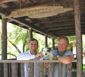 Image of Your hosts Bill, David and Rooster the Dog